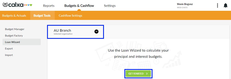 Loan Wizard Menu