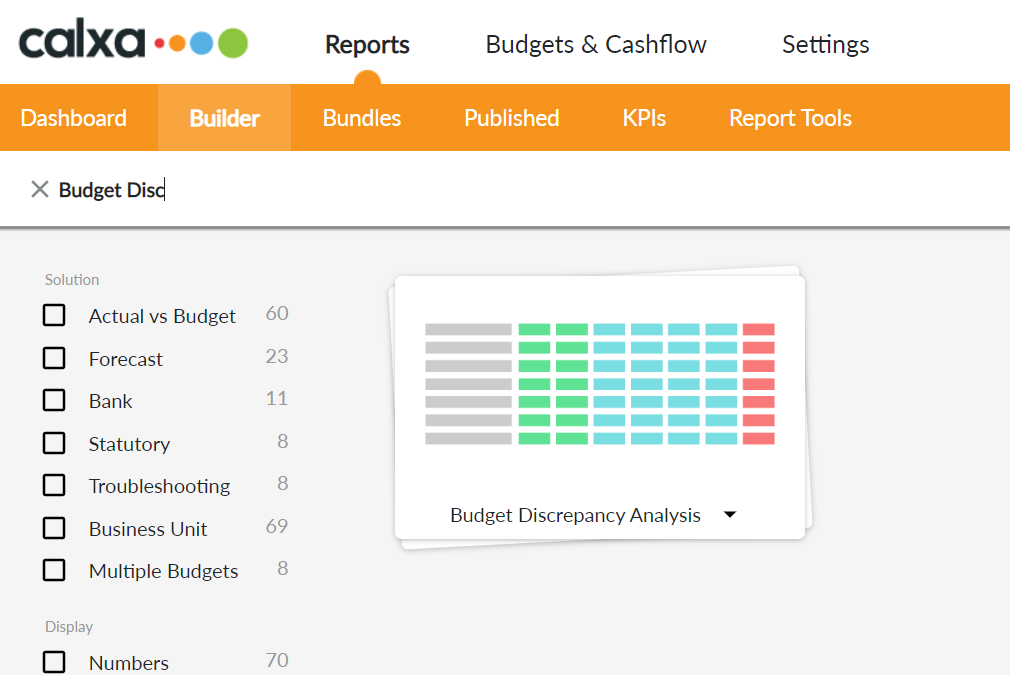Search for Budget Discrepancy Analysis report