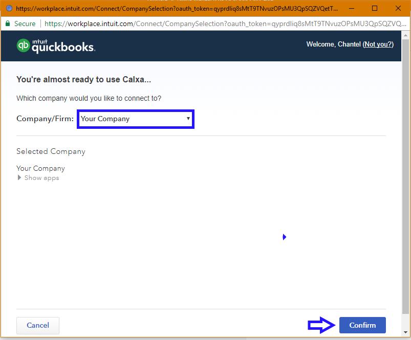 QuickBooks Online Company selector