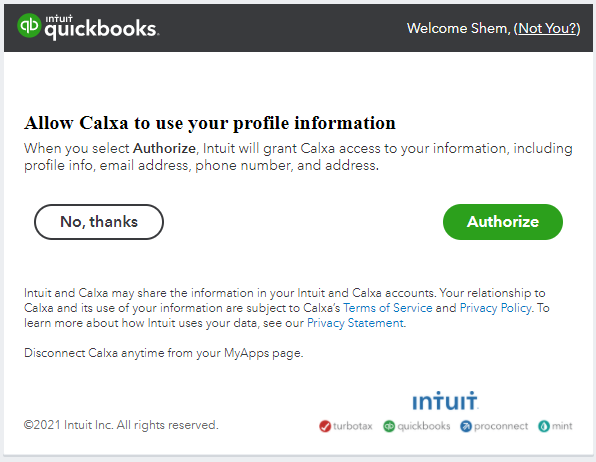 Sign in with Intuit