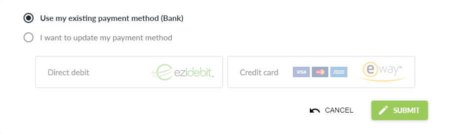 Use existing payment method